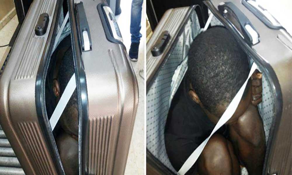 Rapaz de 19 anos tenta atravessar fronteira dentro de uma mala