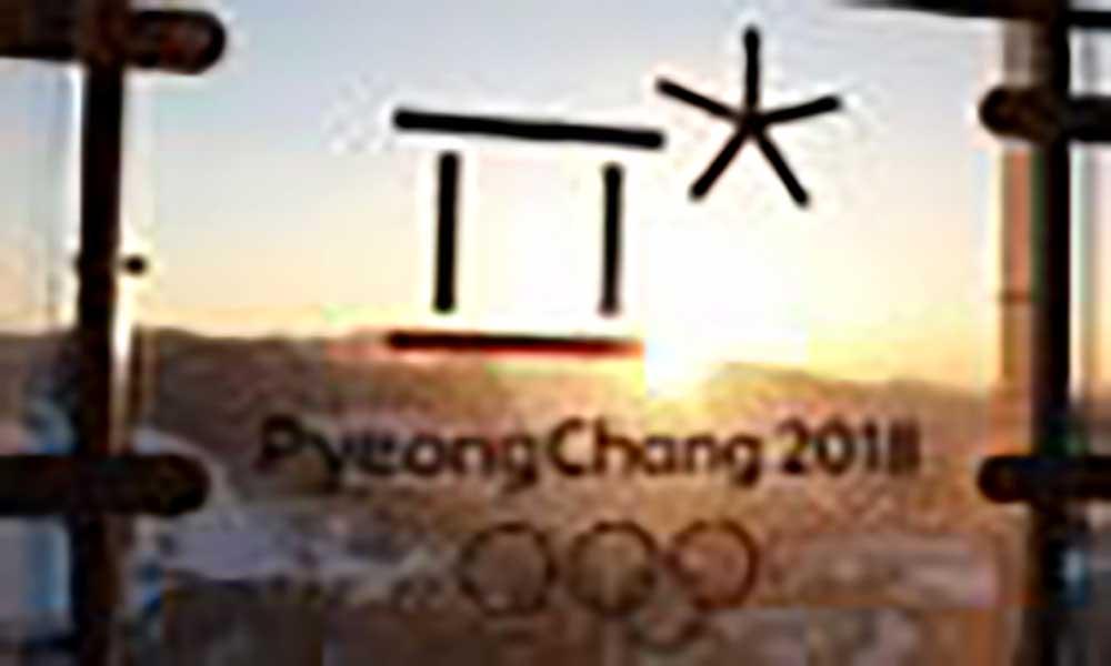Delegação da Coreia do Norte no encerramento dos Jogos de Inverno