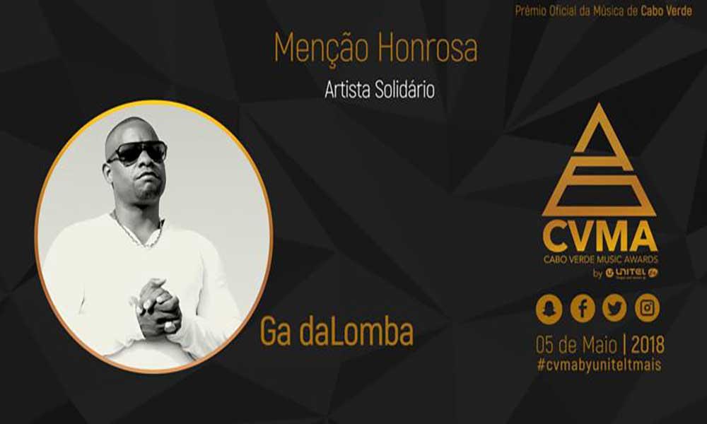 CVMA: Ga Dalomba recebe Menção Honrosa Artista Solidário